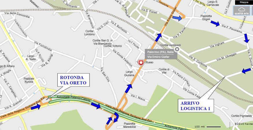 le indicazioni stradali per chi raggiunge il deposito di palermo dalla citta o dal lato ovest
