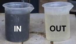 esempio di fango in ingresso (beker di sinistra) e liquido in uscita (beker di destra)